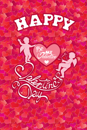 be happy: Holiday card with cute angels and heart on hearts red background.  calligraphic text Happy Valentines Day and Be my Valentine.