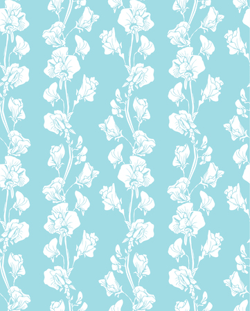 flower sketch: Seamless pattern with Realistic graphic flowers - sweet pea -  background in white and blue colors.
