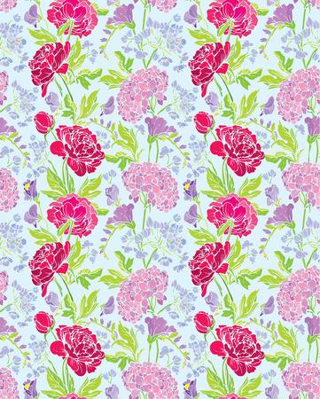 patrones de flores: Patr�n sin fisuras con las flores realistas gr�ficos - peon�a y guisante de olor - fondo.
