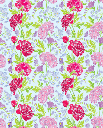 pink flower: Seamless pattern with Realistic graphic flowers - peony and sweet pea -  background. Illustration