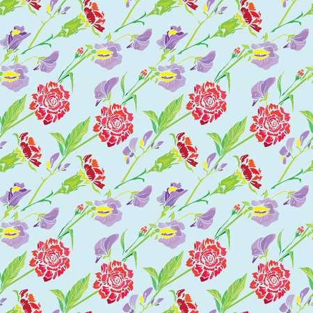 sweet pea: Seamless pattern with Realistic graphic flowers - clove and sweet pea - background. Illustration