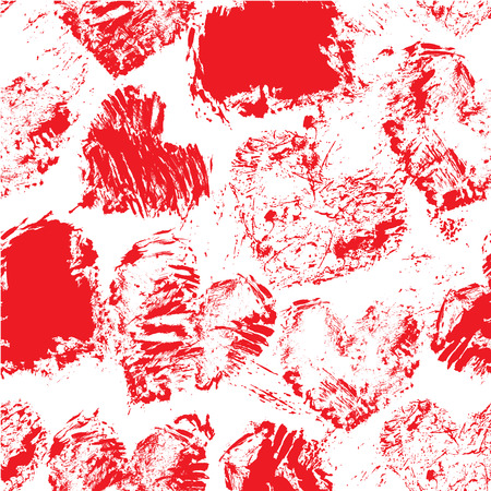 Graffiti: Seamless pattern with grunge red color figures - hearts. Isolated on white background. Background for love cards, wedding invitations, Valentines Day holidays design. Illustration