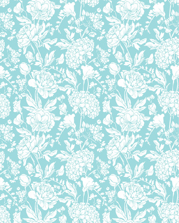 sweet pea: Seamless pattern with Realistic graphic flowers - sweet pea, peony and gardenia - hand drawn background in white and blue colors. Illustration