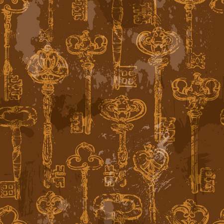 key lock: Seamless pattern with golden Antique Vintage Keys in grunge style on brown background.