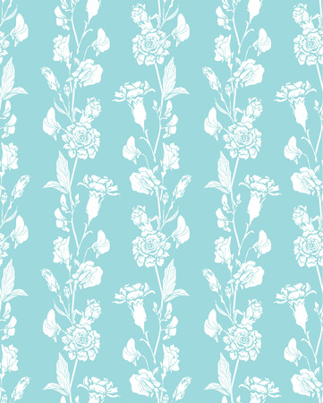 clove: Seamless pattern with Realistic graphic flowers - sweet pea and clove - hand drawn background in white and blue colors. Illustration