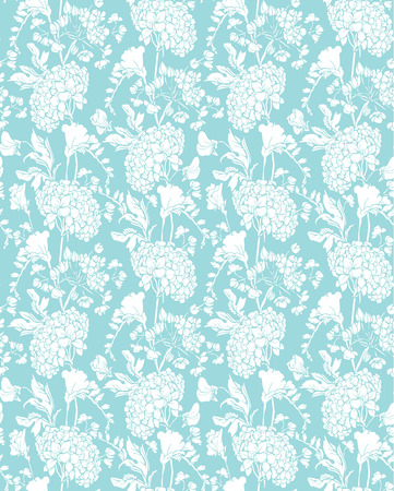 sweet pea: Seamless pattern with Realistic graphic flowers - sweet pea and gardenia - hand drawn background in white and blue colors.
