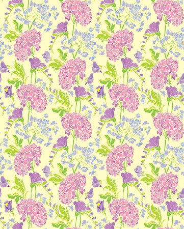 sweet pea: Seamless pattern with Realistic graphic flowers - gardenia and sweet pea - hand drawn background.