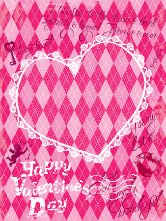 checkered: Holiday Card with vintage lace heart, angel and  calligraphic hand drawn text Happy Valentines day on pink grunge checkered argyle background. Illustration