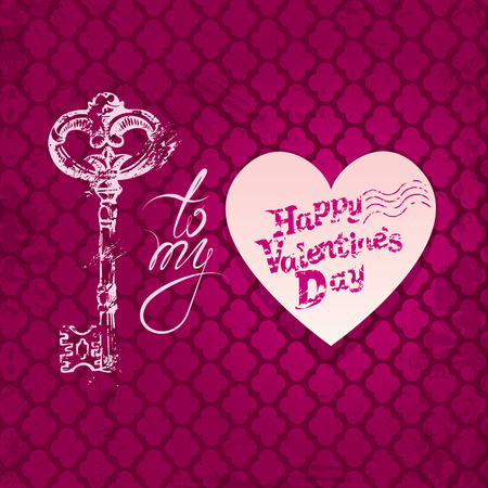 key lock: Vintage card with old key in grunge style, heart and calligraphic text, on pink background. Happy Valentines Day retro design.