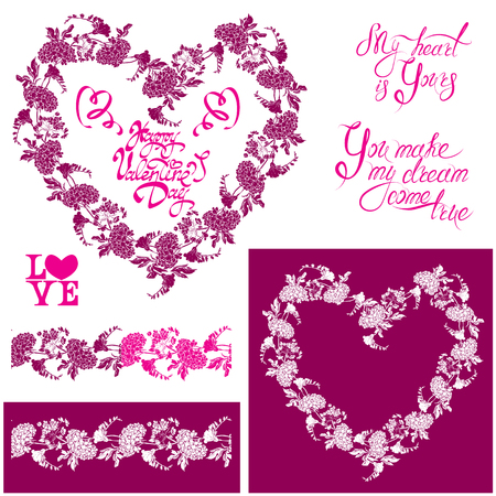 pink  leaf: Floral elements: heart frame, seamless border with flowers, calligraphic hand drawn text Happy Valentines day, Design for holidays, greeting cards, invitations, posters, prints. Illustration