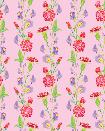 sweet background: Seamless pattern with Realistic graphic flowers - clove and sweet pea -  background. Illustration