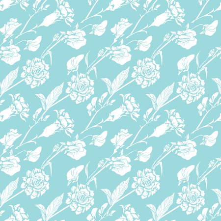 sweet pea: Seamless pattern with Realistic graphic flowers - sweet pea and clove -background in white and blue colors. Illustration