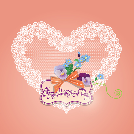 forget me not: Vintage card, calligraphic text Happy Valentines Day. Bouquet of beautiful pansy and forget me not flowers, lace heart, bow and frame on pink background.