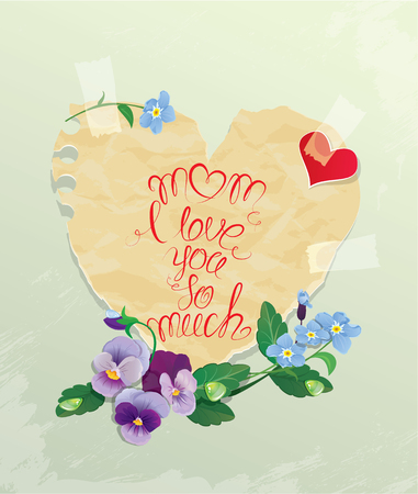forget me not: Happy Mothers Day card. Heart is made of old paper with daisy and forget me not flowers around, calligraphic text - Mom I love you so much.