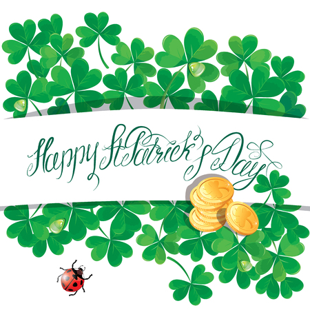 trifolium: Holiday card with calligraphic words Happy St. Patrick`s Day. Shamrock, ladybird and golden coin on white background.