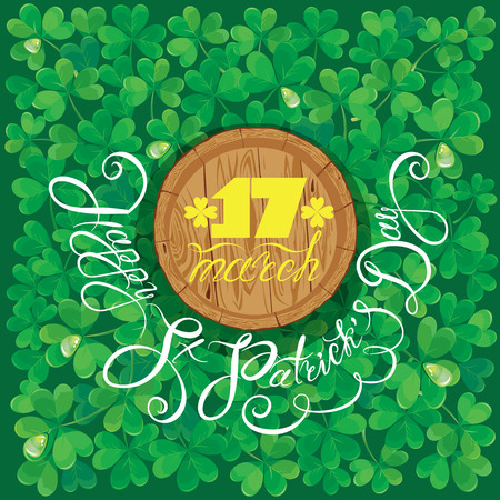 trifolium: Holiday card with calligraphic words Happy St. Patrick`s Day. Round wooden frame. Shamrock green background.