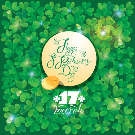 trifolium: Holiday card with calligraphic words Happy St. Patrick`s Day in round frame and golden coin. Shamrock green background.