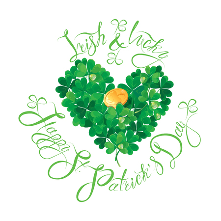 lucky: Holiday card with calligraphic words Irish and Lucky, Happy St. Patricks Day. Shamrock heart with golden coin isolated on white background