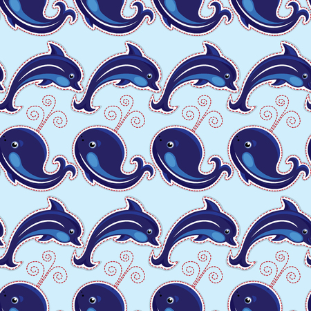 swims: Seamless pattern with whales and dolphins - ornamental background.