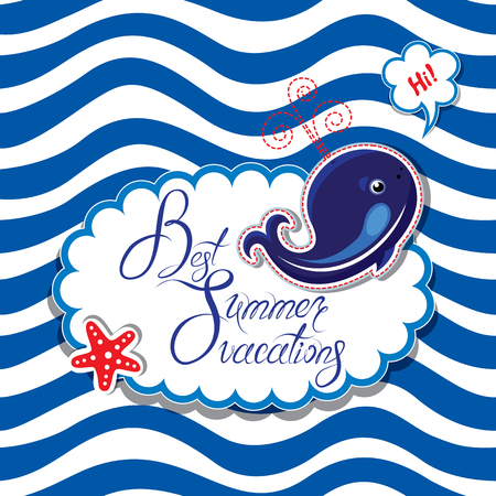 seastar: Funny Card with blue whale on striped background. Oval frame with calligraphic words Best Summer Vacations Illustration