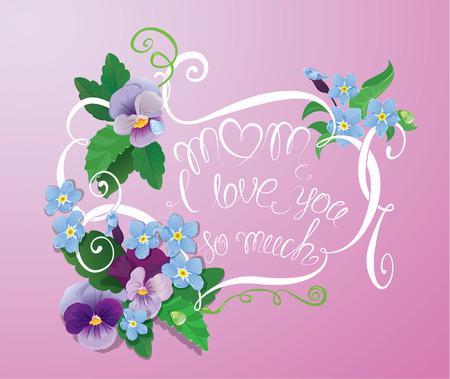 violeta: Fondo floral de la vendimia con el texto escrito a mano caligráfico - mama te quiero tanto