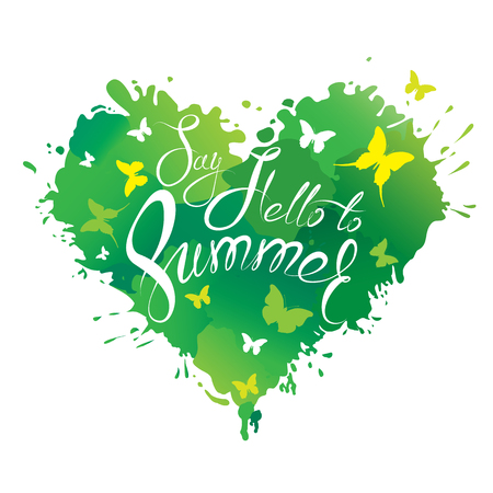say hello: Heart shape is made of brush strokes and blots in green colors and handwritten text Say Hello to Summer - element for travel and vacation design. Illustration