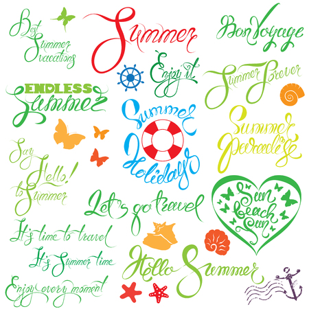 lets: Set of handwritten text: Endless Summer, enjoy it, let`s go travel, sun beach fun, etc. Calligraphy elements for season holiday, travel or vacations design.