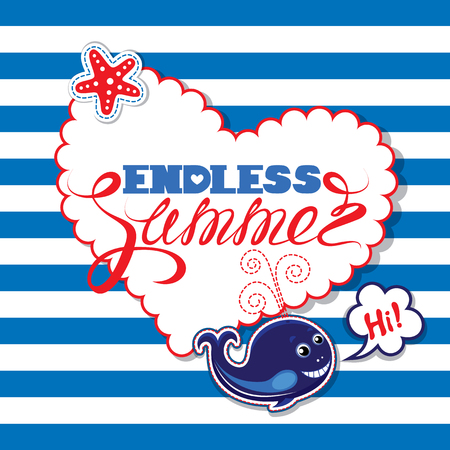 funny travel: Funny seasonal Card with blue whale on striped background. Heart shape frame with calligraphic words Endless Summer. Design for vacations and travel, greeting cards, posters and t-shirts printing.