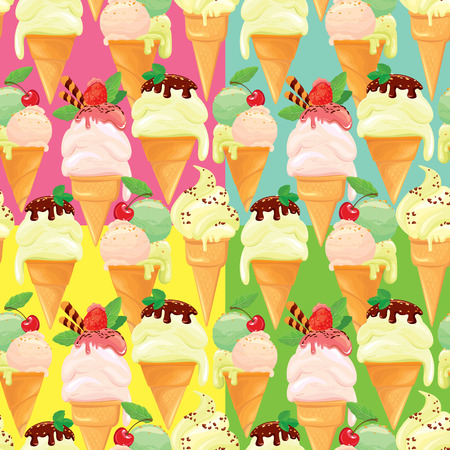 Set of seamless patterns with Ice cream cones with glaze, Chocolate, strawberry and cherry, on pink, blue, green, yellow backgrounds. Illustration