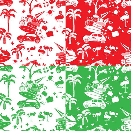 reise retro: Set nahtlose Muster mit kleinen Retro-Reise Auto, Gepäck, Palmen, Flamingo, rot, grün und weiß Farbhintergründe. Element für den Sommer Gruß, Poster und T-Shirts Druck Illustration