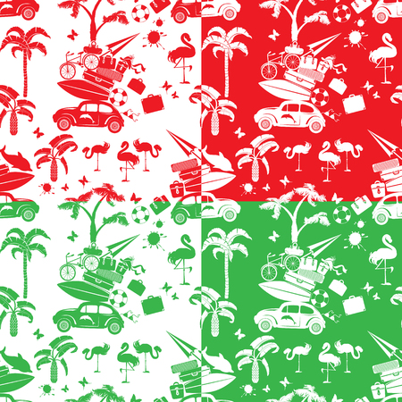 travel backgrounds: Set of seamless patterns with small retro travel car, luggage, palm trees, flamingo, red, green and white color backgrounds. Element for summer greeting, posters and t-shirts printing