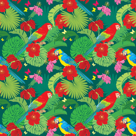 macaw: Seamless pattern with palm trees leaves, Frangipani flowers and Blue Yellow and Red Blue Macaw parrots. Element for summer, travel and vacation design.