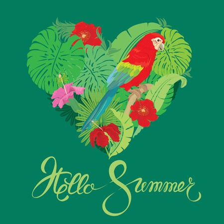 trees seasonal: Seasonal card with Heart shape, palm trees leaves and Red Blue Macaw parrot. Handwritten calligraphic text Hello Summer. Element for travel and vacation design.