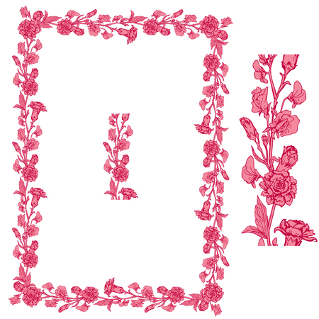 sweet pea: Set of ornaments in pink and red colors - decorative handdrawn floral border and frame with clove and sweet pea flowers, isolated on white background. Illustration