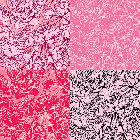 red and white: Seamless pattern with Realistic handdrawn flowers - peony - background in pink, red, white and black colors. Illustration
