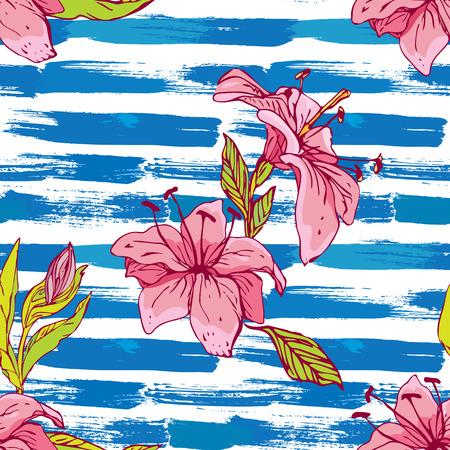 Patrón sin fisuras con los lirios de tigre flores en el azul de rayas grunge y background.Background náutico blanco para el diseño de verano Foto de archivo - 55601425