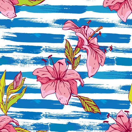 Seamless pattern with tiger lilies flowers on the striped grunge blue and white nautical background.Background for summer design Illustration