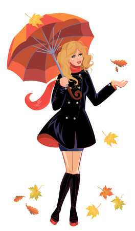Girl with umbrella isolated on white background, autumn season. Illustration