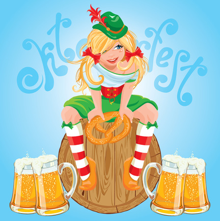 bavarian girl: Pretty Bavarian girl with beer and pretzel, Oktoberfest card. Illustration