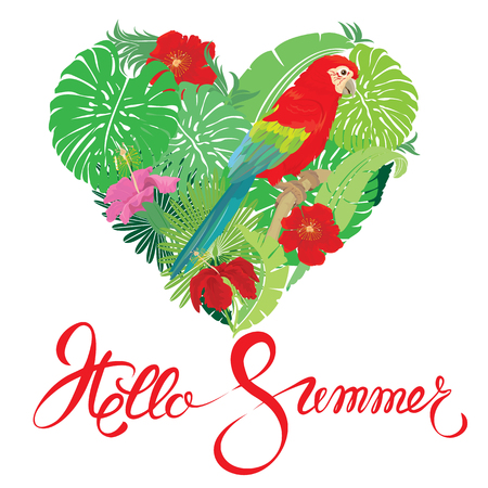 hello heart: Seasonal card with Heart shape, palm trees leaves and Red Blue Macaw parrot. Handwritten calligraphic text Hello Summer. Isolated on white background. Element for travel and vacation design.