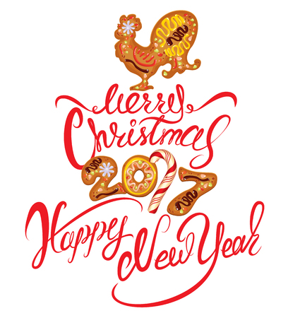 winter stylized: Hand written calligraphic text Merry Christmas and Happy New Year 2017, isolated on white background. Year number as cookies. Winter holidays design. Stylized rooster from Chinese calendar. Illustration