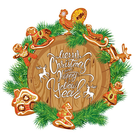 galletas de navidad: Holiday Card with round wooden frame,  fir tree branches, xmas gingerbread,  isolated on white background. Hand written calligraphic text Merry Christmas and Happy New Year.