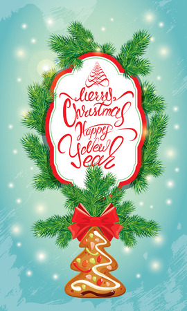 Holiday greeting Card with xmas gingerbread, frame and fir-tree branches. Hand written calligraphic text Merry Christmas and Happy New Year. Light blue background with sparkles.