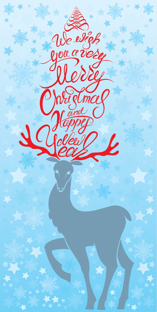 wishing card: Holiday card with reindeer and handwritten calligraphic text We wish you a very Merry Christmas and Happy New Year.