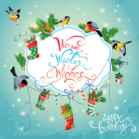 holiday gifts: Xmas and New Year Holiday Card with Birds holding Christmas stockings, gifts and presents. Calligraphic handwritten text Warm Winter Wishes. Illustration