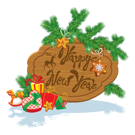 Holiday Card with wooden frame,  fir tree branches, xmas gingerbread, presents and gifts isolated on white background. Hand written calligraphic text Happy New Year. Illustration