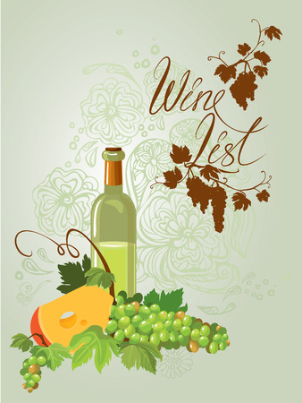 wine grapes: Wine bottle, cheese and green grapes and leaves on beige floral ornamental background. Calligraphic handdrawn text Wine list. Element for restaurant, bar, cafe menu or label. Illustration