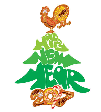 winter stylized: Hand written calligraphic text Happy New Year 2017, isolated on white background. Year number as cookies. Winter holidays design. Stylized rooster from Chinese calendar.