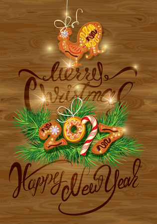winter stylized: Hand written calligraphic text Merry Christmas and Happy New Year 2017, on wooden background. Year number as cookies. Winter holidays design. Stylized rooster from Chinese calendar.