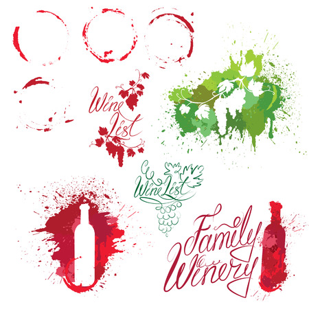 isabella: Set of elements in grunge style with Bunch of grapes, bottle, wine stains isolated on white background. Handdrawn text Wine list, Family Winery. Design for restaurant, bar, cafe menu or label.